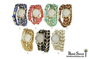 Wholesale Lot of 6 Pcs Geneva Designer Inspired Wrap Leathre Chain Watch - 9671