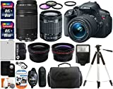 Canon EOS Rebel T5i 18.0 MP CMOS Digital Camera SLR Kit With Canon EF-S 18-55mm IS STM + Canon 75-300mm III Lens + Wide-Angle Lens + Telephoto Lens + 8GB and 16GB Card + Card Reader + Case + Battery + Flash + Tripod + Remote + 58mm Filter Kit - 24GB Deluxe Accessories Bundle