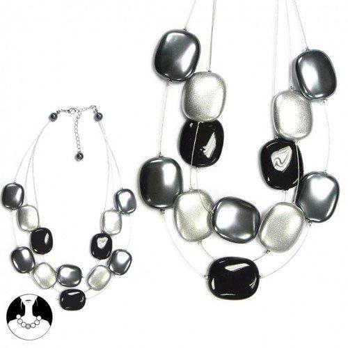 sg paris women necklace necklace 3 rows 46/38cm grey comb plastic