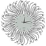 "Lulu Decor, Sun Decorative Metal Wall Clock, Frame Size 23"", Black Metal Frame, Perfect for Housewarming Gift."