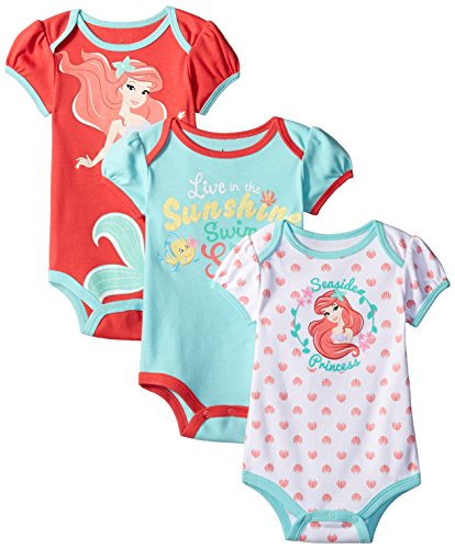 Disney Baby-Girls The Little Mermaid Ariel Bodysuit, Pink, 3-6 Months (Pack of 3)