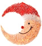 """17"""" Pre-Lit Smiling Moon with Red Hat & 20 Clear Indoor/Outdoor Lights"""