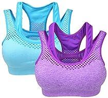 Vermilion Bird Women's Sports Bra High Impact Support Racerback Gym Activewear Bras 2 Pack M/L