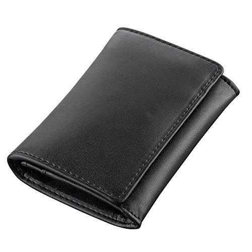 PLEMO 名刺入れ カードケース 牛皮本革 ビジネス用品 柔らかい 隠しボタン ブラック KB-002