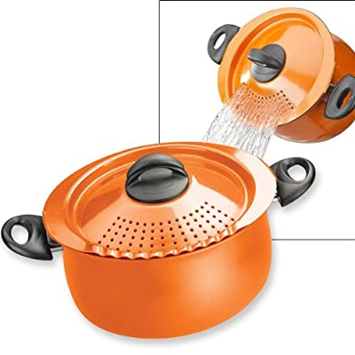 Pasta Pot with Strainer Lid - 5-Quart - Orange