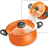 Pasta Pot with Strainer Lid - 5-Quart - Orange by MaxiAids