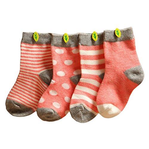 Happy Cherry Vintage Baby Mädchen 4 Paar Socken Set Weich Baumwolle Süß und Lieblich - Rosa Gepunkt Gestreift 0-6 Monate