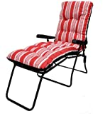 Garden Patio Sun Lounger Multi Position Chair + Footrest Red Striped Cushion