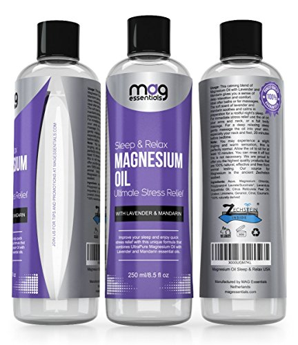 Natural Sleep Aid. Magnesium Oil Sleep and Relax, 8.5 fl oz with Essential Oils Lavender & Mandarin. Helps with Insomnia, Migraine, Anxiety, Stress Relief and Relaxation.