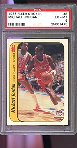 1986-87 Fleer Sticker #8 Michael Jordan ROOKIE RC PSA 6 Graded Basketball Card