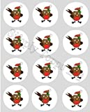 12 Robin Christmas rice paper cupcake toppers 40mm cake decoration