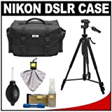 Nikon 5874 Digital SLR Camera System Case - Gadget Bag with Tripod + Cleaning & Accessory Kit for D3100, D3200, D5100, D5200, D7000, D600, D800, D3s, D3x & D4