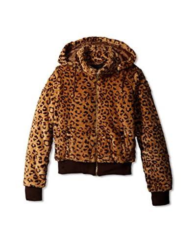 Yoki Women's Leopard Faux Fur Jacket  [Brown]