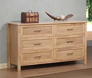 Olympus Natural Six Drawer Large Wood Dresser Chest Bedroom Furniture