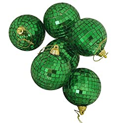 "Pack of 6 Green Mirrored Glass Disco Ball Christmas Ornaments 1.5"" (40mm)"