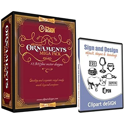 Sign Clipart, Design Elements, Scrolls, Floral, Flourishes, Ornamental Panels and Frames Vinyl Cutter Plotter Vector Clip Art Images, Graphics on CD [includes Sign and Design as a FREE Bonus a $59 value]