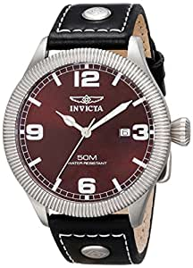 Invicta Men's 1461 Vintage Collection Riveted Leather Strap Brown Dial Watch