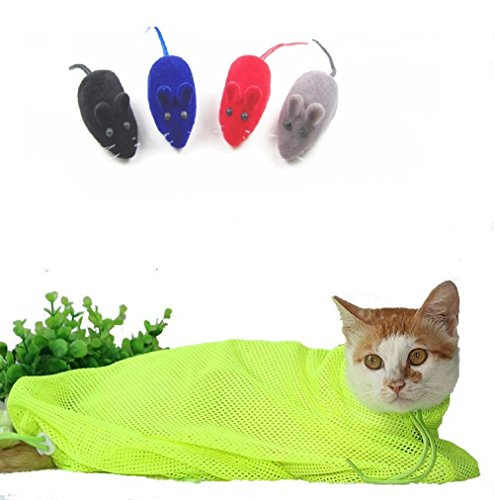llh-cat-grooming-bag-cat-restraint-bag-cat-grooming-accessory-with-a-sound-small-mouse-green