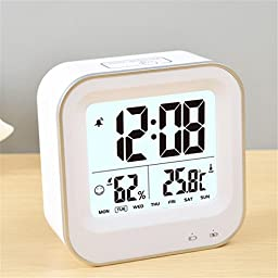 SROCKER C33 Portable Rechargeable LED Digital Clock Soft Nightlight Snooze Alarm with Time, Humidity, Temperature, Week, Date, Alarm Display (White)