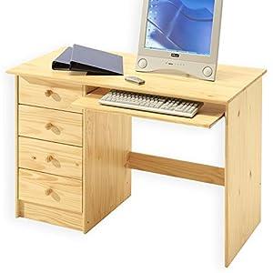 bureau enfant multi rangements malte tiroirs et support clavier pin massif vernis naturel. Black Bedroom Furniture Sets. Home Design Ideas
