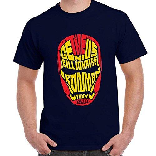 T-Shirt Uomo Maglia Maniche Corte Supereroi Marvel Tony Stark Stampa Iron Man, Colore: Navy, Taglia: XXL