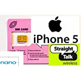 Straight Talk Nano SIM Card for iPhone 5. For T-Mobile & Unlocked GSM iPhone 5's (Nano Size).