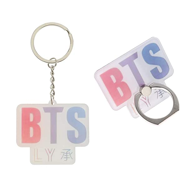 Youyouchard Kpop Phone Ring Stand Finger Loop Ring Holder Universal 360 Rotation Cell Phone Ring Kickstand with Keychain//Keyring EXO