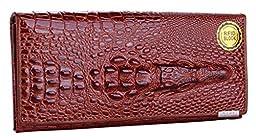 GUSTT RFID Blocking Women Genuine Leather Accordion Style Crocodile Embossed Wallet (Coffee)