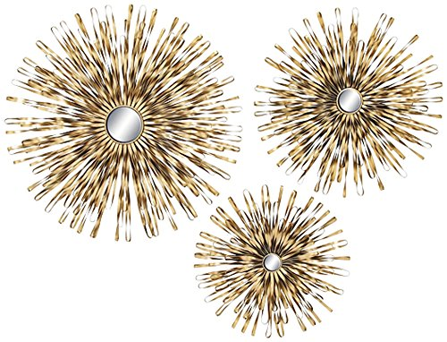 Burst Gold Sunburst 3-Piece Metal Mirrored Wall Art Set