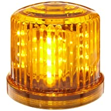 "Fortune PL-300AJ Battery Powered Ultra Bright LED Standard Police Beacon, 5"" Diameter x 5"" Height, Amber"
