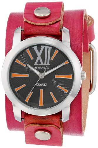 Nemesis Mujer PVGB065KN Exclusive Collection Roman Washed Red Leather Cuff Reloj