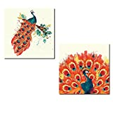 Gorgeous Teal and Orange Watercolor Style Peacock Set; Two 12x12in Poster Prints