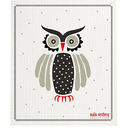 Swedish Dishcloth, Set Of 2 Red, Grey & Black Owls (Sp)