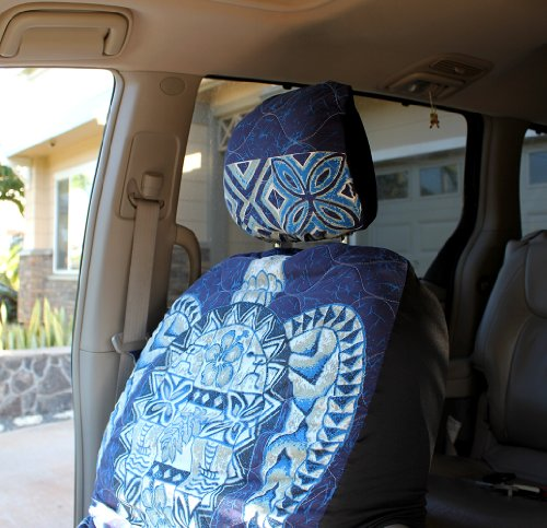 Hawaiian Car Seat Covers with Separated Headrest, Blue Big Turtle, Set of 2 Front Bucket Seat Covers, Made in Hawaii (Blue Hawaiian Seat Covers compare prices)