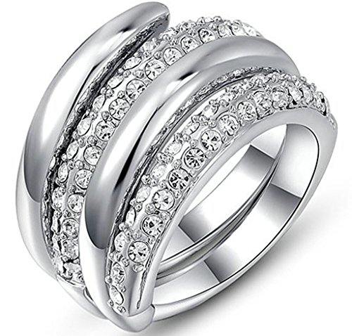 alimab-placcato oro 18K Donna Anelli Wedding Bands doppio Wrap Set Size 6-8oro bianco, Lega, 17, colore: Oro bianco, cod. xxjiezhityix1169