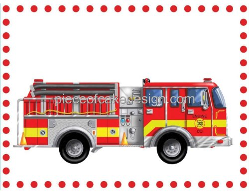 1/4 Sheet ~ Childrens Fire Truck Dots Birthday ~ Edible Image Cake/Cupcake Topper!!!