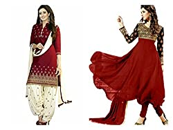 Sky Global Women's Printed Unstitched Regular Wear Salwar Suit Dress Material (Combo pack of 2)(SKY_DC_5009)(SKY_501_RED)(Dress_166_FreeSize_Red)