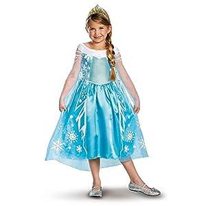 Disguise Girls Disney Frozen Elsa Deluxe Costume, X-Small/3-4 Tall