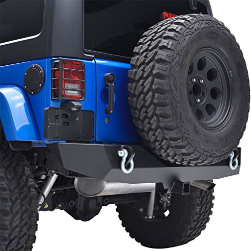 E-Autogrilles 51-0310 Black Rock Crawler Rear Bumper (07-16 Jeep Wrangler JK Textured  Heavy Duty with 2'' Hitch Receiver) (Rear Bumper Wrangler compare prices)