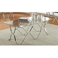 Furniture of America Mirella Contemporary Coffee Table, Chrome