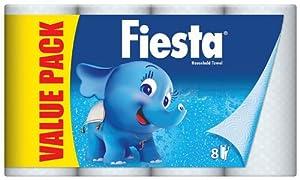 Fiesta White Kitchen Towel - 8 x Pack of 3 (24 Rolls)