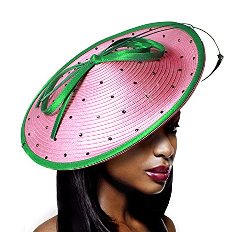 Polka Dot Dish Fascinator - Q5 (Pink/Lime)
