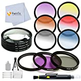 58MM Professional 13 Piece Filter Set Bundle. For The Canon Vixia HF G10 HF G20 HF G30 HF S20 HF S21 HF S30 HF S200 XF100 XF105 - Includes 3 PC Filter Kit (UV CPL FLD) + 4 Piece Macro Filter Set (+1 +2 +4 +10) + 6 PC Graduated Color Filter Set (Red Yellow