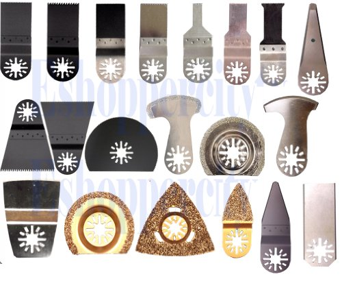 20 Diamond / Carbide Pcs Pro Pack Combo Japan Tooth Bim Carbide Diamond Standard Cut Oscillating Multi Tool Saw Blade For Fein Multimaster Bosch Multi-X Craftsman Nextec Dremel Mm20 6300 Fmm 250Q M12 Multi-Max Ridgid Dremel Chicago Proformax Blades