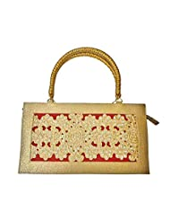 Bhamini Raw Silk Cutwork With Pearl Handbag (Maroon)
