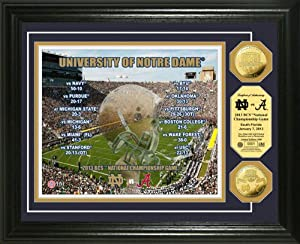 NCAA Notre Dame 2013 BCS National Championship Game Gold Coin Photomint by Highland Mint