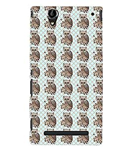 Printvisa Beige And Brown Animated Owl Pattern Back Case Cover for Sony Xperia T2 Ultra::Sony Xperia T2 Ultra Dual