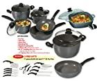 Stoneline - PFOA Free Non-stick Stone Cookware - Recipe Master 12 Piece Set + FREE 11 Piece Knife Set