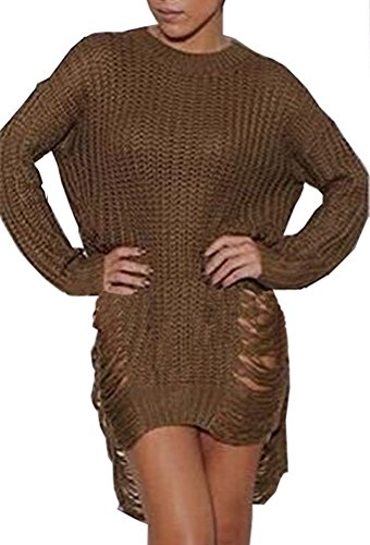 Women Sexy Ripped Knitted Loose Side Slit Pullovers Sweater Dress Coffee L