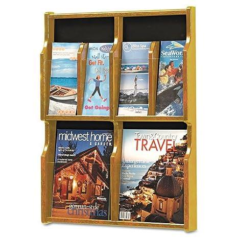 Safco - Expose Adj Magazine/Pamphlet Four Pocket Display, 20w x 26-1/4h, Medium Oak 5704MO (DMi EA